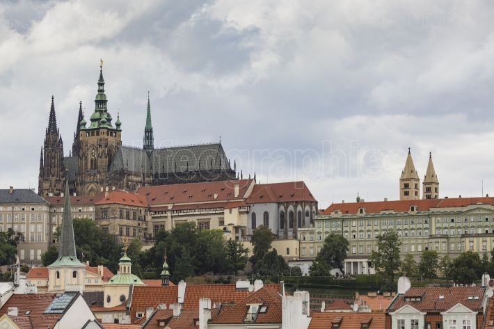 View on Prague castle from Charles Bridge
