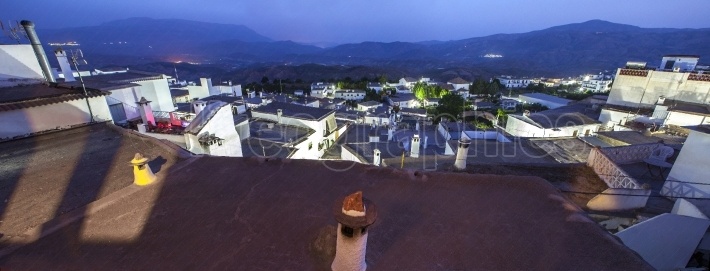 Village of Yegen at night in the Alpujarras mountains, Granada,