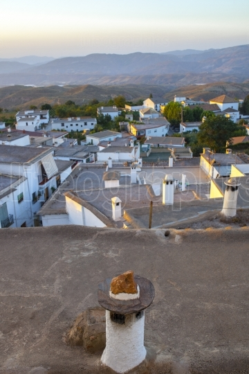 Village of Yegen at rising, Alpujarras, Granada, Spain