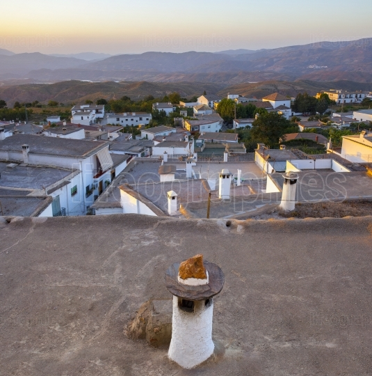 Village of Yegen at rising in the Alpujarras mountains, Granada,