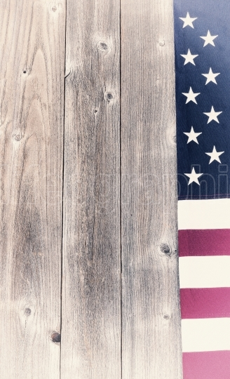 Vintage border of USA flag on rustic wooden boards