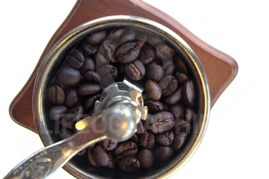 Vintage coffee grinder with a coffee