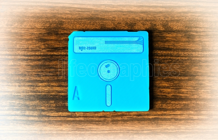 Vintage cyan floppy disc background