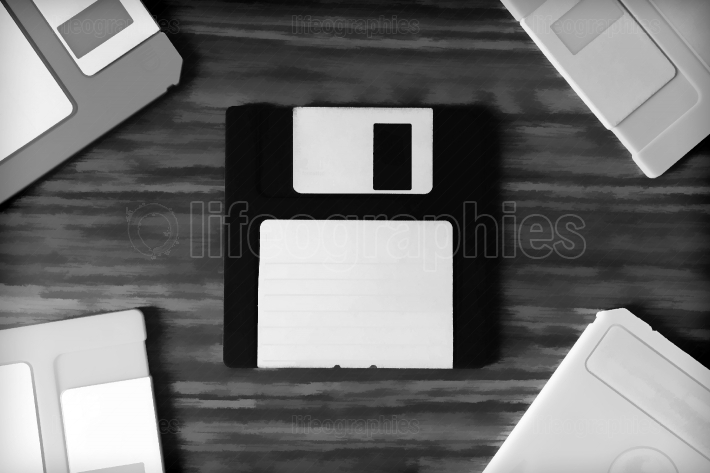 Vintage set of floppy discs illustration