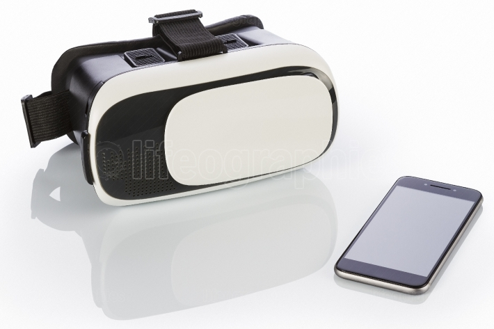 Vr glasses and smartphone on white