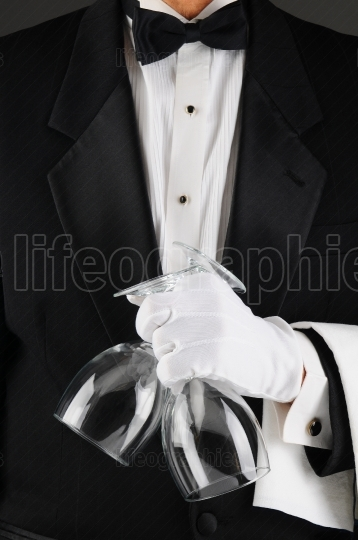 Waiter Holding Wine Glasses