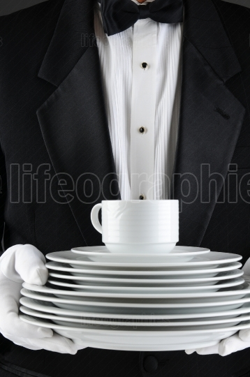 Waiter With a Stack of Plates