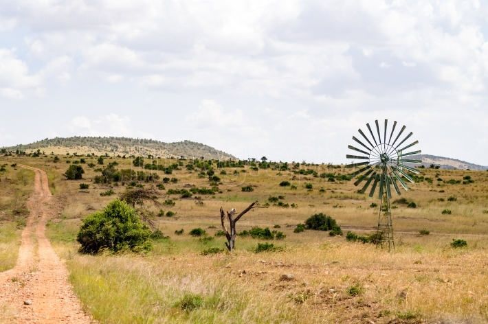 Water pump powered by a wind turbine in the savannah of the Masa
