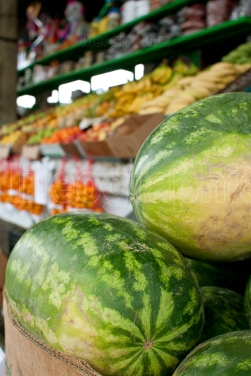 Watermelons And Other Fruits On Display At Farmers Market