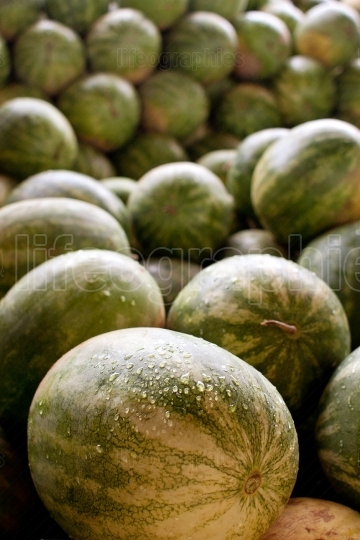 Watermelons Piled High In Truck At Farmers Market