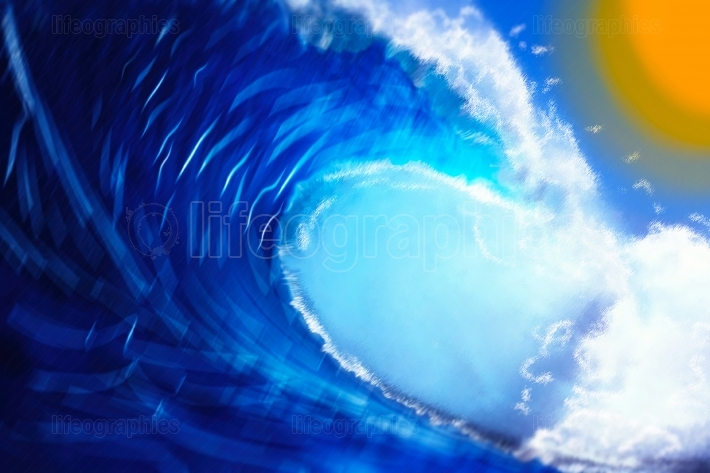 Waves & sun painting abstraction background