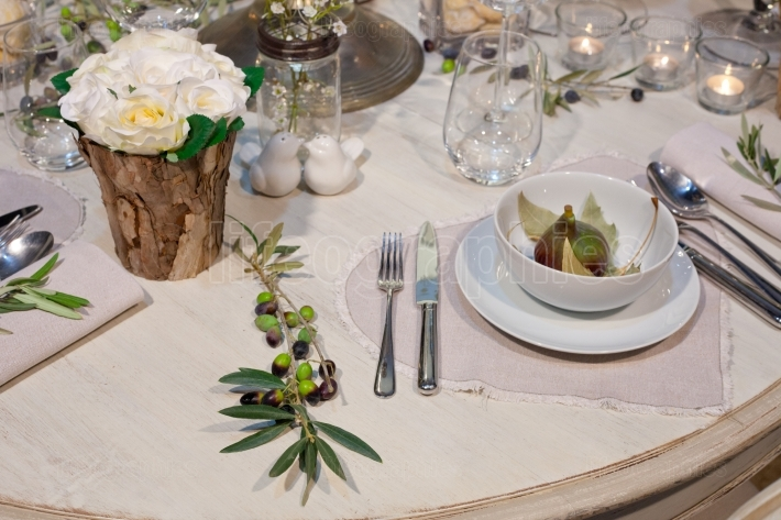 Wedding table with olives