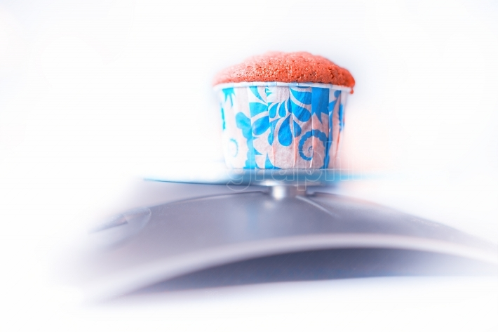 Weighting cupcake diet object background