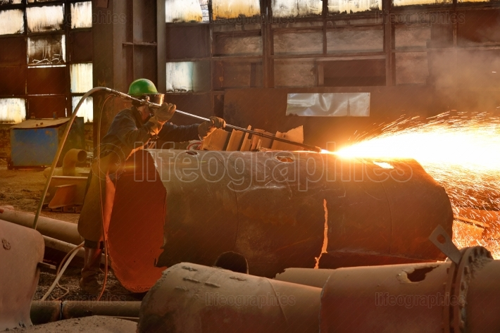 Welder working on a pipeline