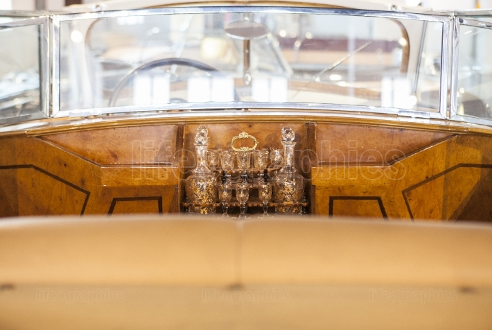 Wet bar detail in a classic luxury car