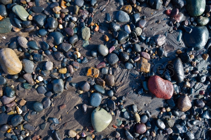 Wet pebbles on beach