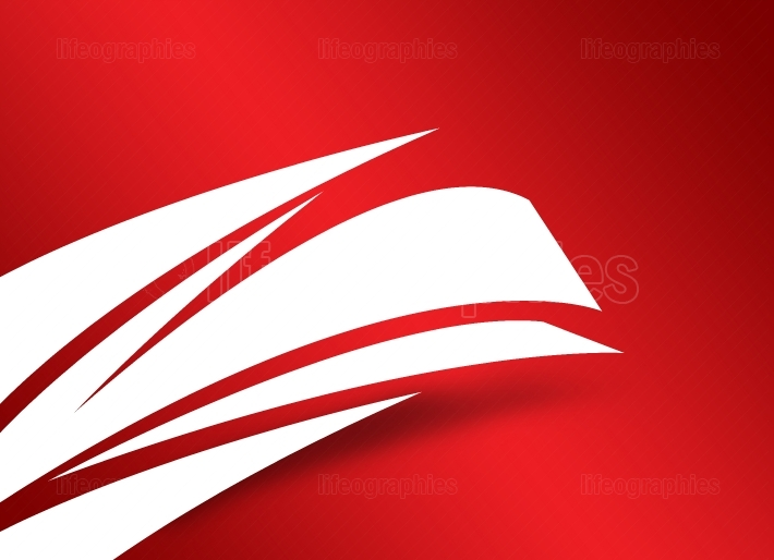 White Curve Surfaces with Shadow on Red Background