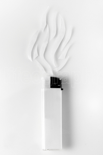 White lighter and abstract smoke