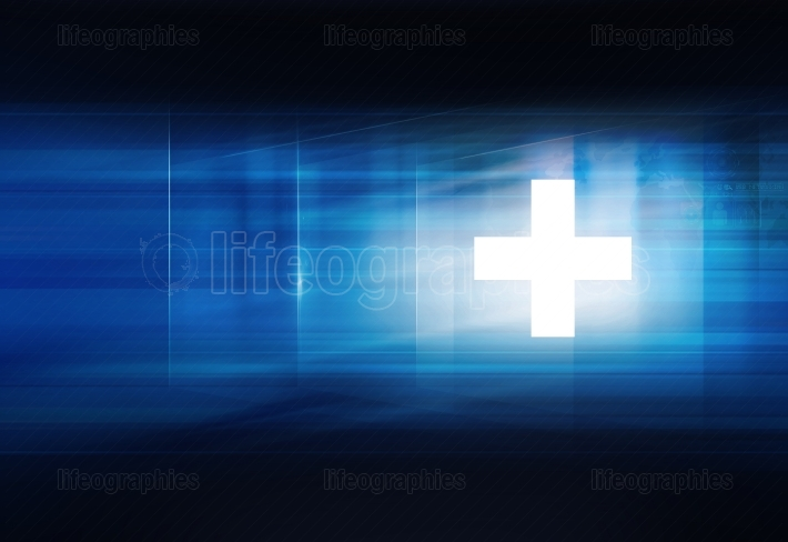 White plus symbol in front of blue background Concept Series 433