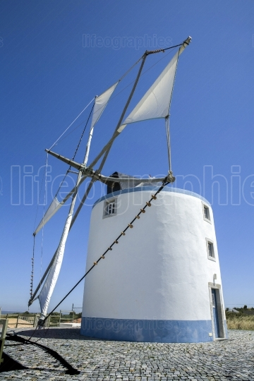 Windmill belong to Sesimbra countryside region, Portugal