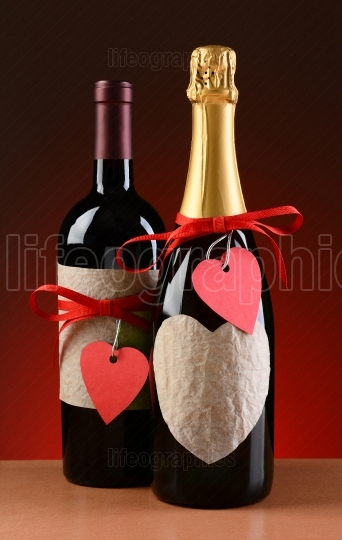 Wine and Champagne Bottles Decorated of Valentines Day