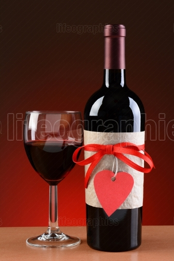 Wine Bottle Decorated For Valentines Day