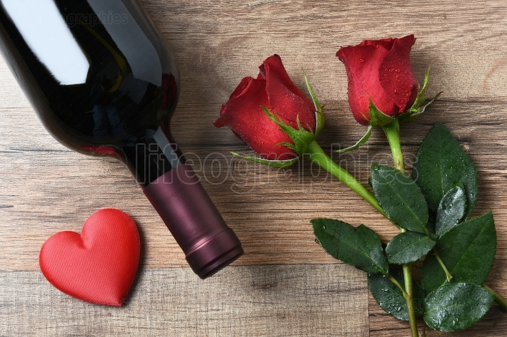 Wine Bottle Roses Heart