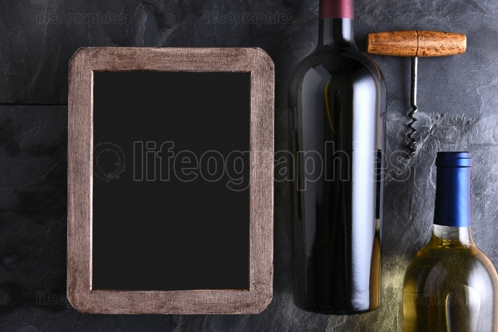 Wine Bottles and Blank Wine List