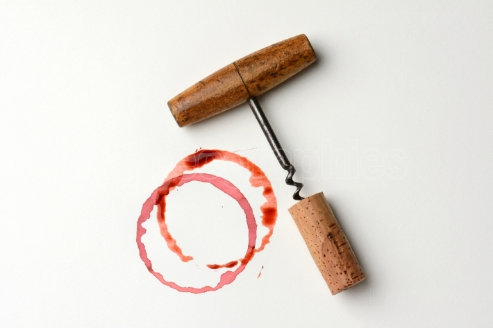 Wine Stain and Antique Corkscrew