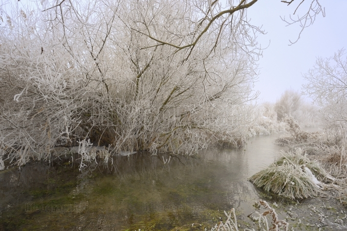 Winter frozen on  river