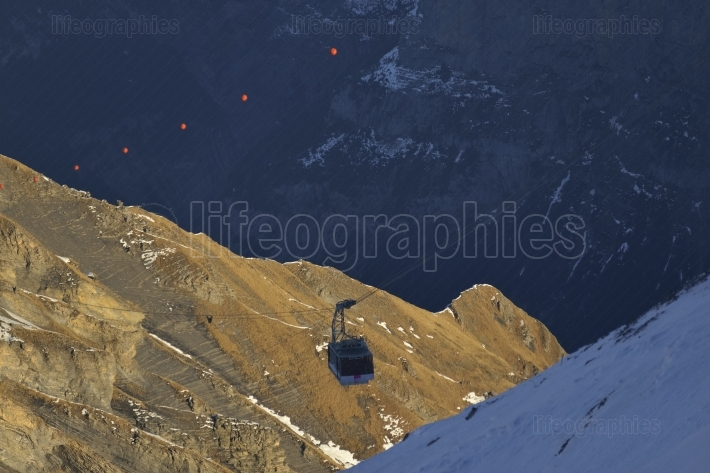 Winter mountains and cablecar