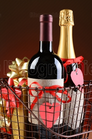 Wire Shopping Basket With Valentines Presents