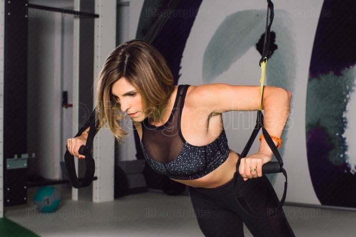 Woman exercise trx