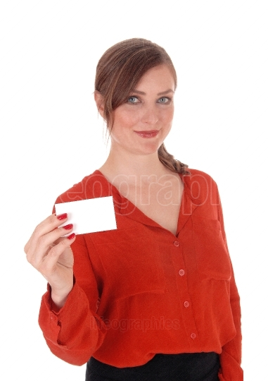 Woman holding a business card up
