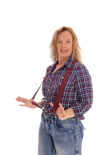 Woman in checkered shirt and suspender.