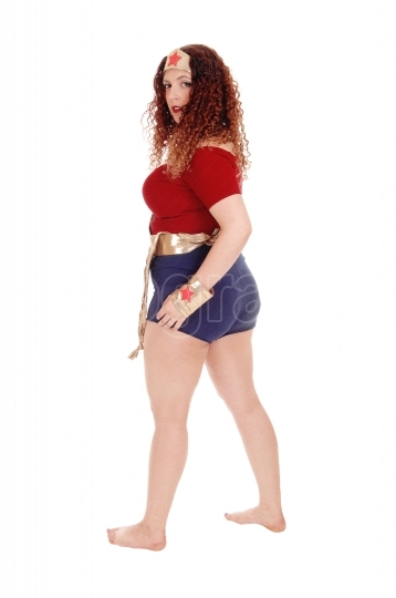 Woman in super woman outfit