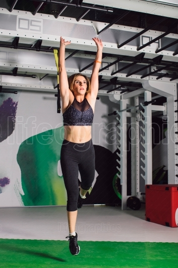Woman jumping exercise