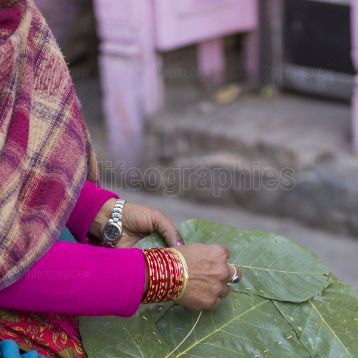 Woman Nepal selling fruit and vegetable at Market in Kathmandu,
