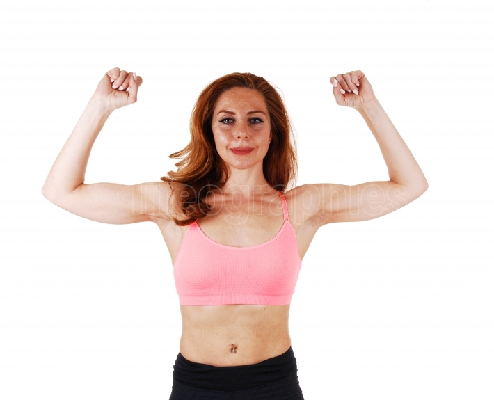 Woman showing her muscles