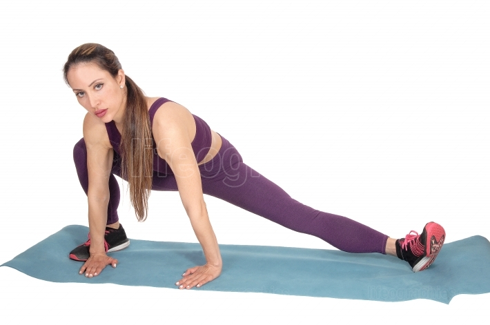 Woman stretching in exercise outfit
