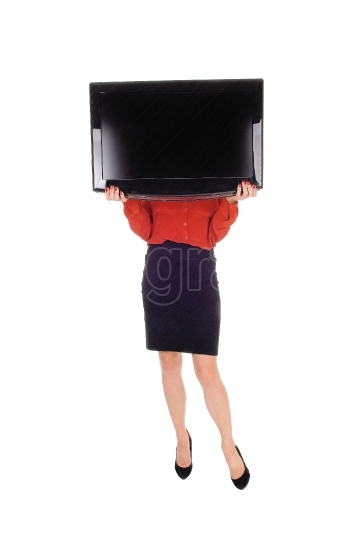 Woman with TV over face