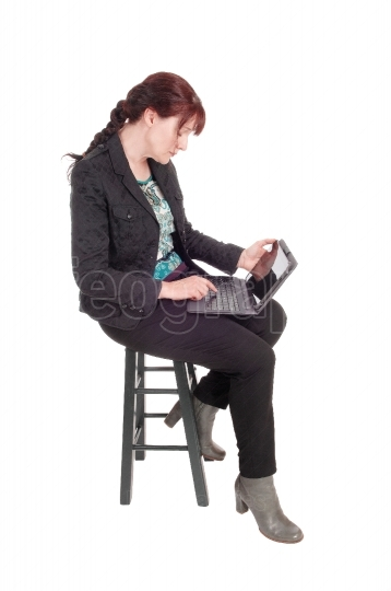 Woman working with her tablet.