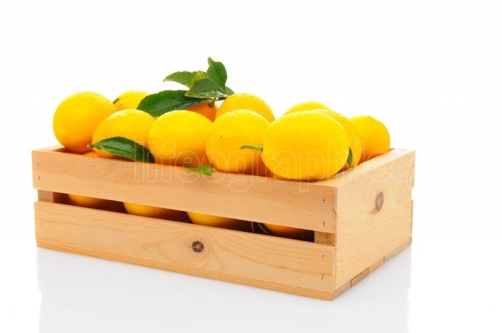 Wood Crate Full of Fresh Lemons