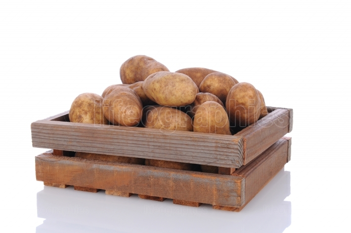 Wood Crate Full of Potatoes