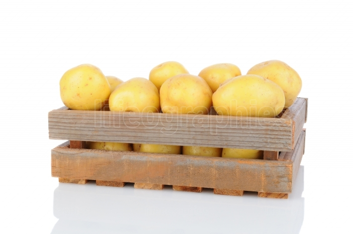 Wood Crate Full of White Potatoes