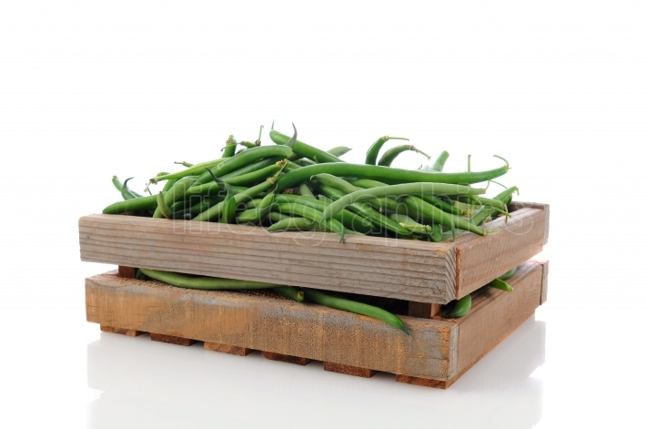 Wood Crate with Green Beans