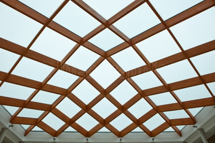 Wooden and glass ceiling