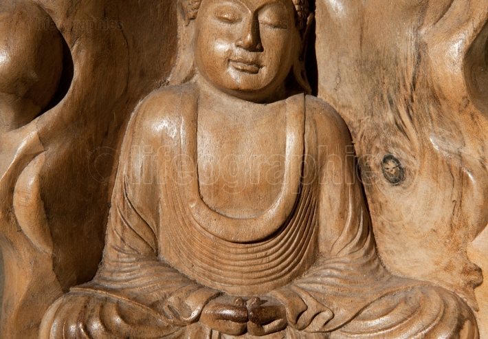 Wooden Figurine Of Meditating Buddha