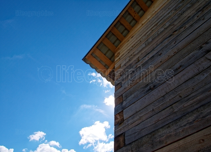 Wooden house for a rural plot in the spring