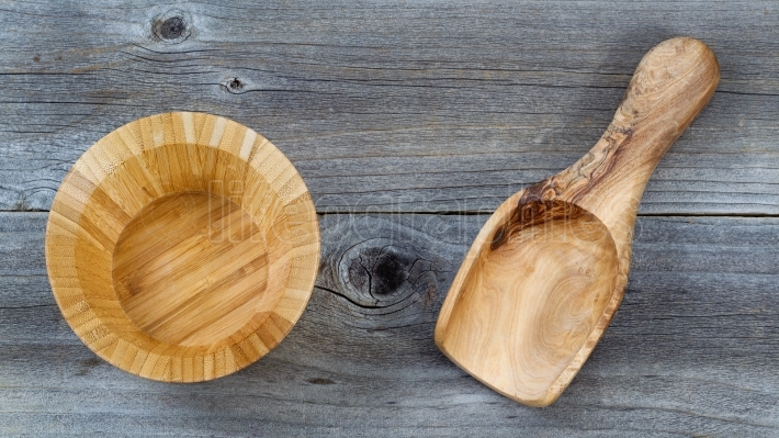 Wooden Kitchenware on rustic Wood